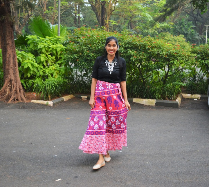 My Long & Pretty Pink Wrap On Skirt!