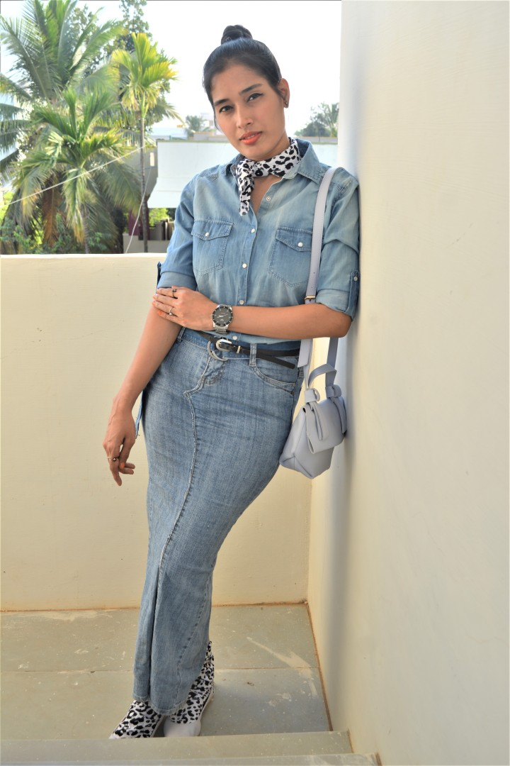 New Take On Denim On Denim Outfit With Cow Print